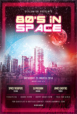 80's In Space Party Flyer