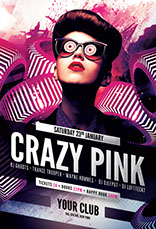 Crazy Pink Party Flyer Template