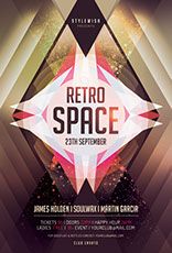 Retro Space Party Flyer