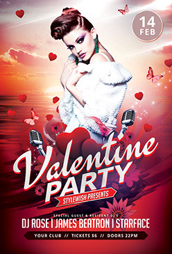 Valentine Party Flyer Template