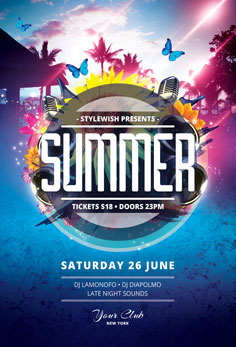 summer flyer templates psd design